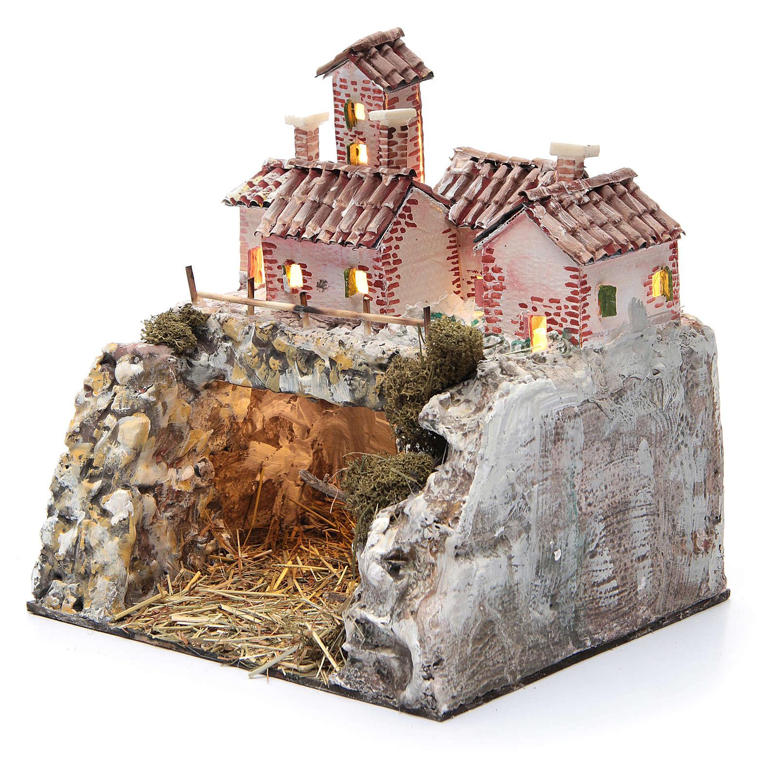 Crèche rocheuse avec 10 lumières à piles 25x25x20 cm 4