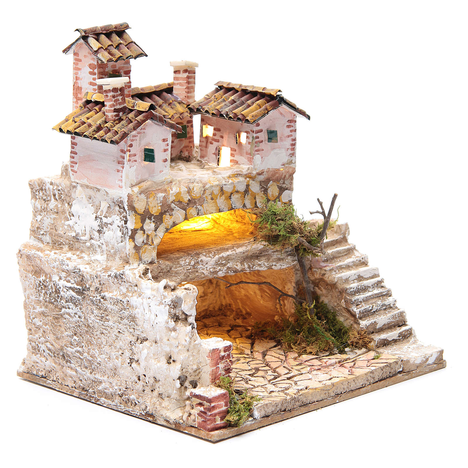 Nativity scene with a cave and a group of houses 25x25x20 cm 4