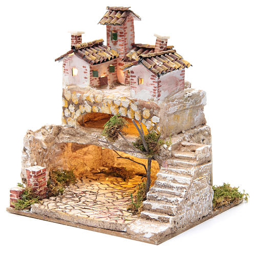 Nativity scene with a cave and a group of houses 25x25x20 cm 2