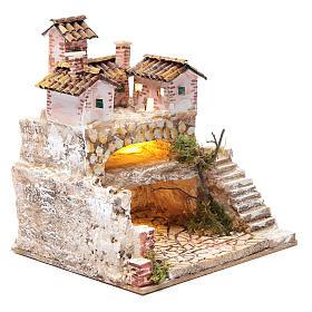 Presepe con grotta e un gruppo di case 25x25x20 cm s3