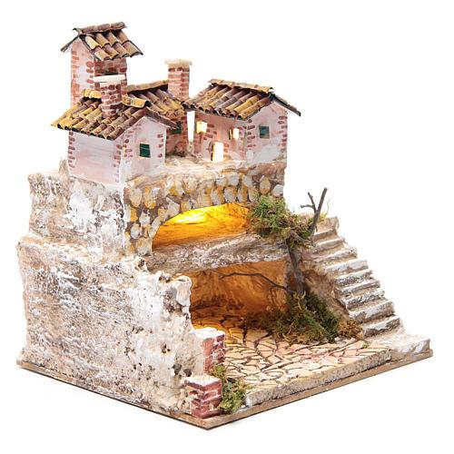 Presepe con grotta e un gruppo di case 25x25x20 cm 3