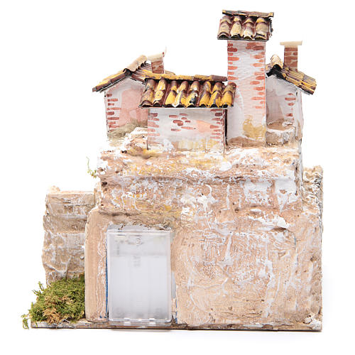 Presepe con grotta e un gruppo di case 25x25x20 cm 4