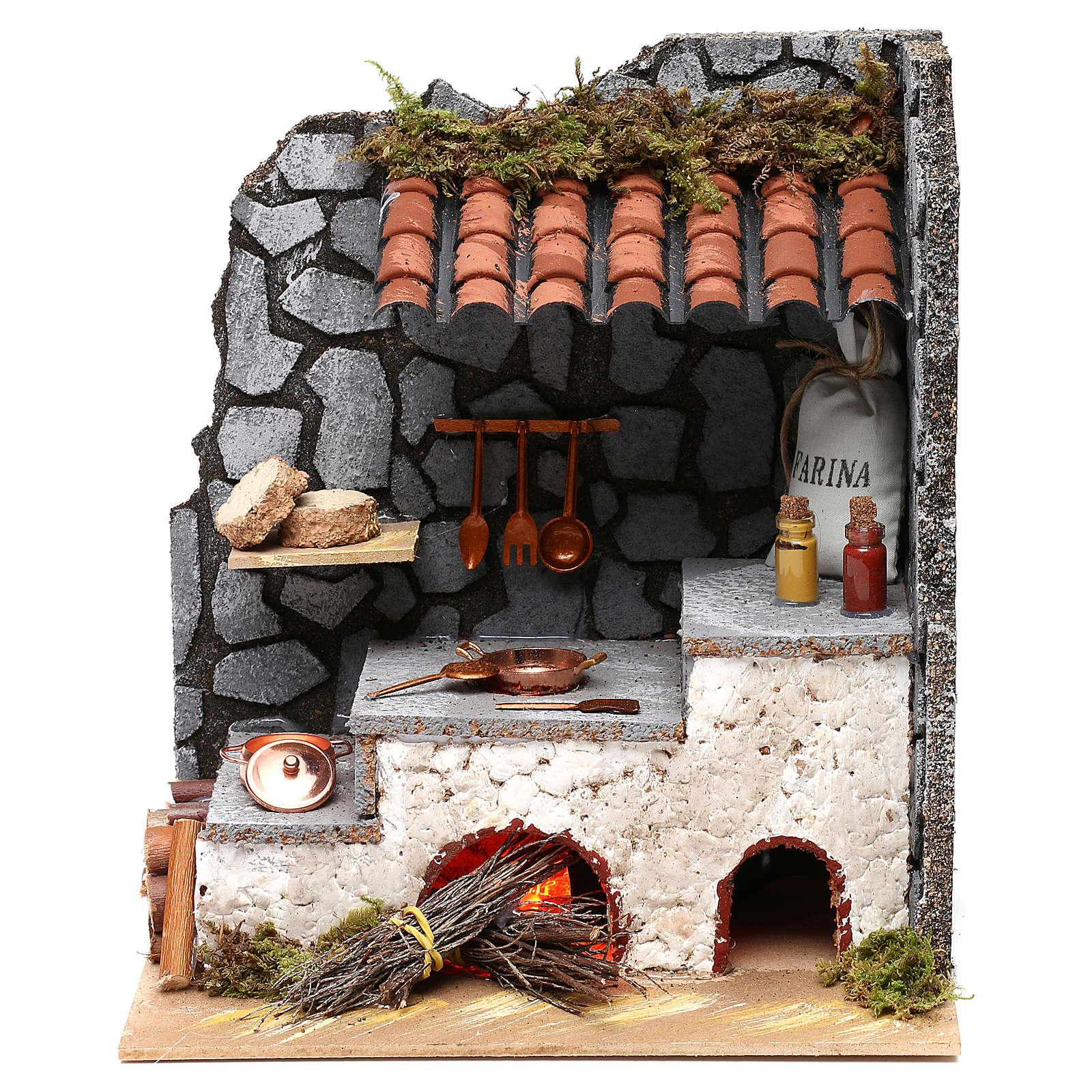 Cocina para belén con hogar y luz fuego 25x20x15 cm 4