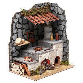 Cocina para belén con hogar y luz fuego 25x20x15 cm s3