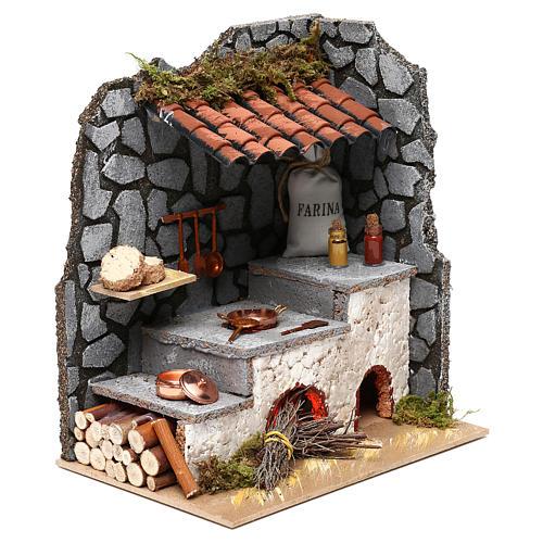 Cocina para belén con hogar y luz fuego 25x20x15 cm 3