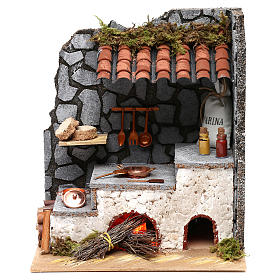 Cuisine pour crèche avec âtre et lumière feu 25x20x15 cm s1