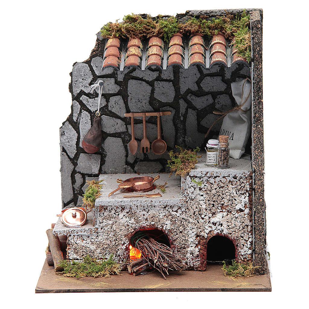 Cucina per presepe con focolare e luce fuoco 25x20x15 cm 4