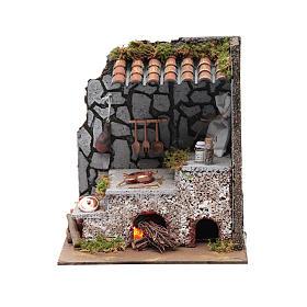 Cucina per presepe con focolare e luce fuoco 25x20x15 cm s5