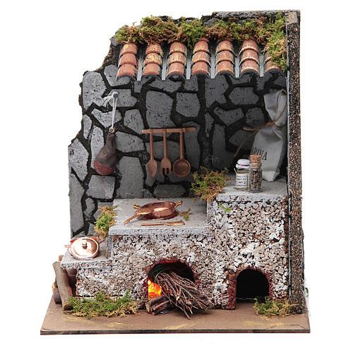 Cucina per presepe con focolare e luce fuoco 25x20x15 cm 1