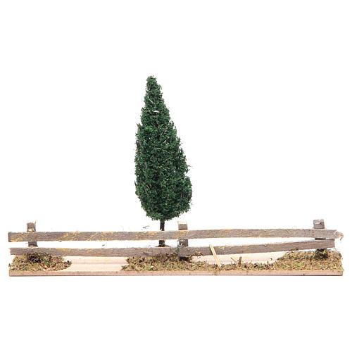 Staccionata in legno con albero 15x25x5 cm 1