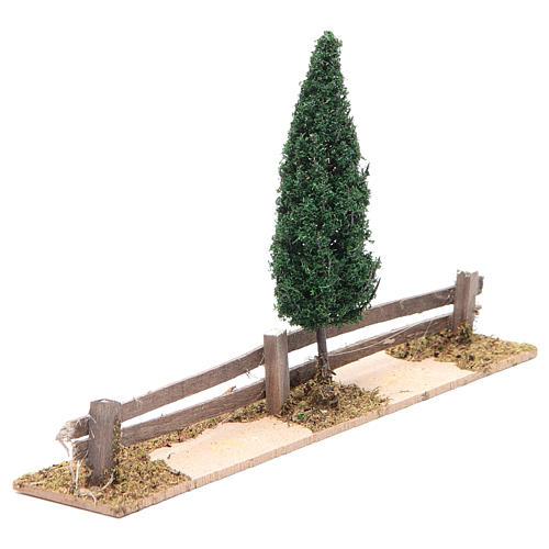 Staccionata in legno con albero 15x25x5 cm 2