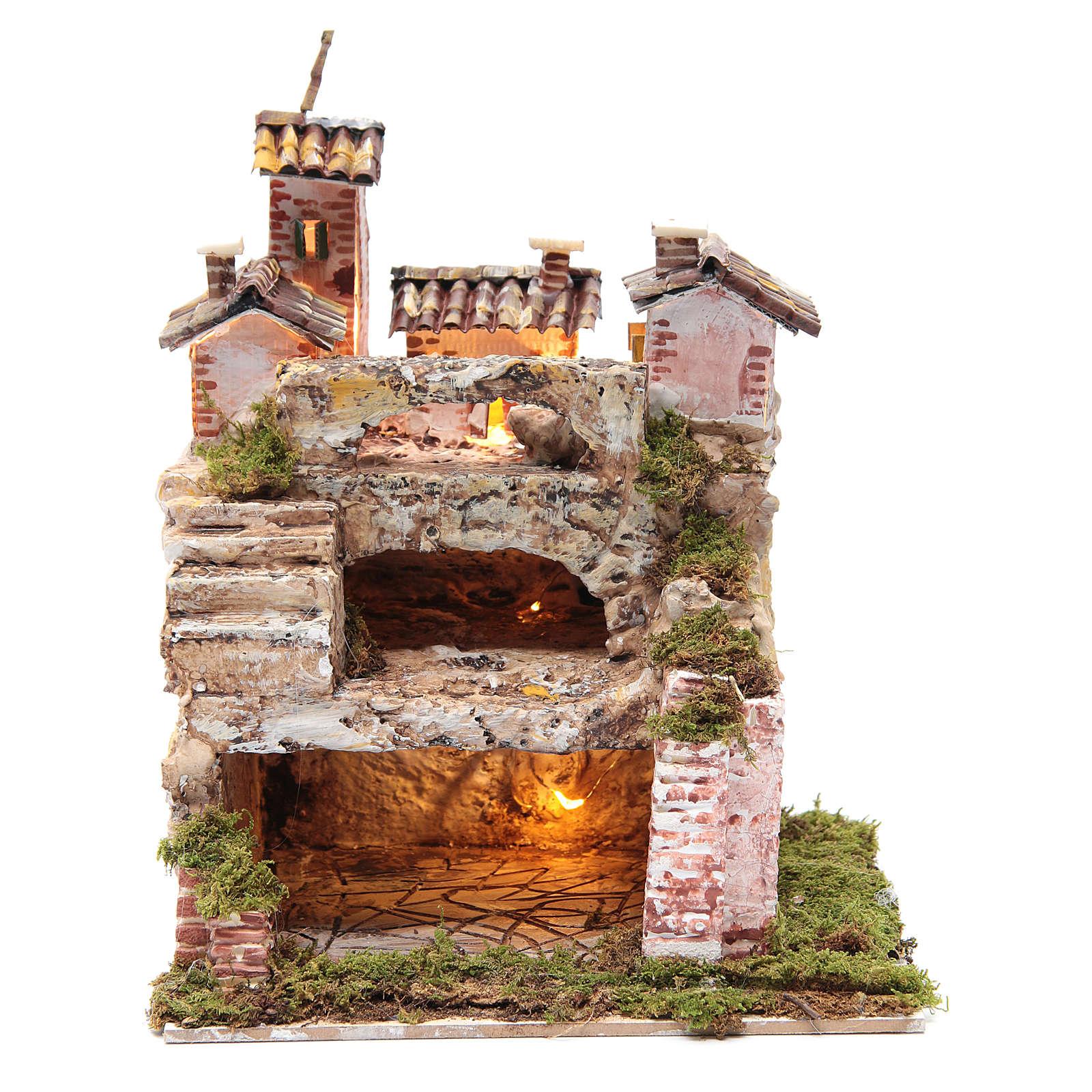 Crèche avec cabane éclairée et étable 30x25x20 cm 4