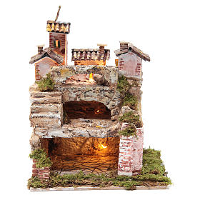 Crèche avec cabane éclairée et étable 30x25x20 cm s1