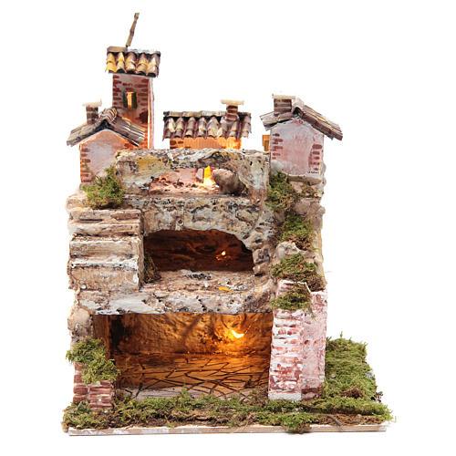 Crèche avec cabane éclairée et étable 30x25x20 cm 1