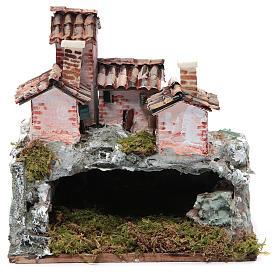 Crèche avec paysage de type rocheux 20x20x15 cm s1