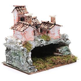 Crèche avec paysage de type rocheux 20x20x15 cm s3