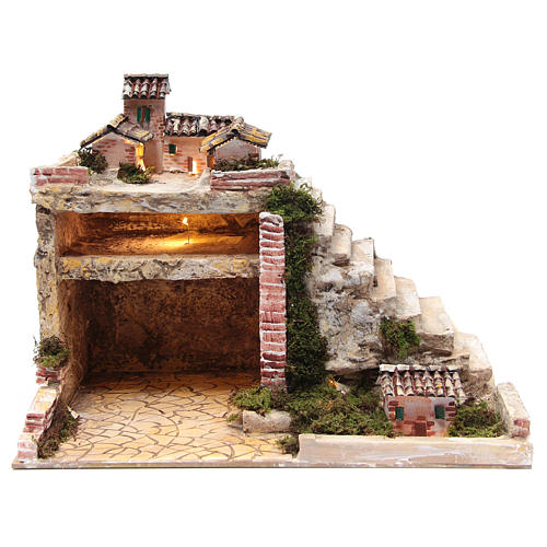 Crèche illuminée avec cabane et escalier 35x45x30 cm 1