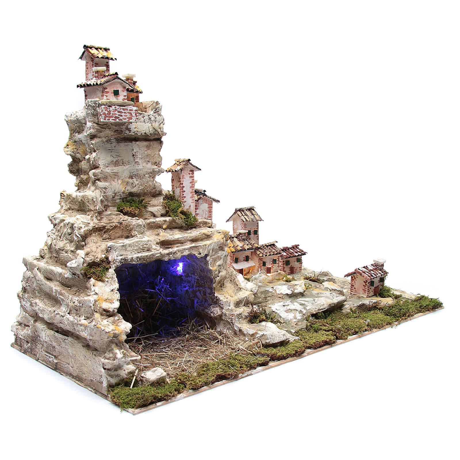Presepe roccioso con luci 50x75x40 cm 4
