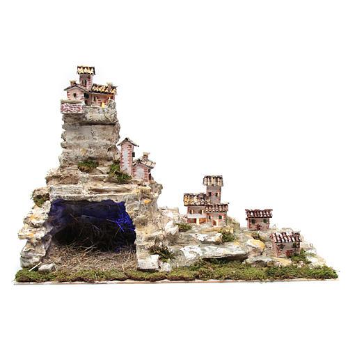 Presepe roccioso con luci 50x75x40 cm 1