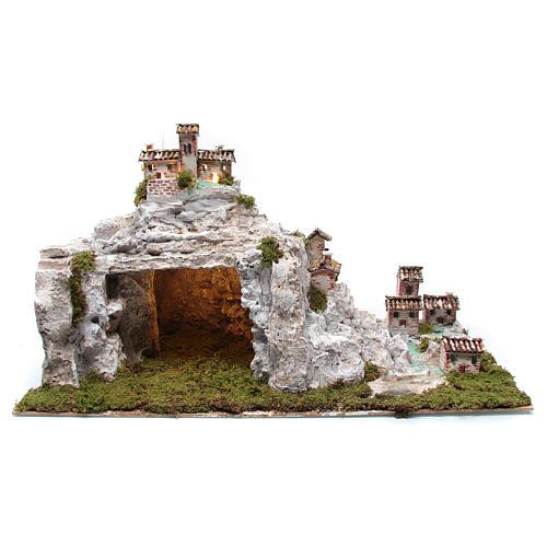 Crèche avec paysage rocheux et éclairage 50x75x50 cm 1