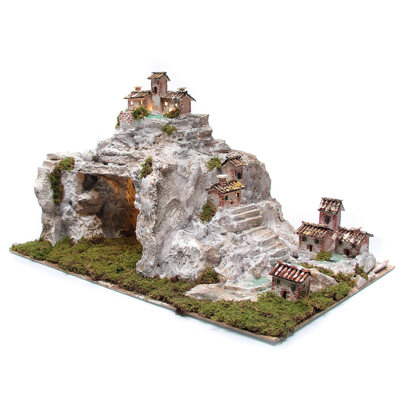 Presepe con paesaggio roccioso e luci 50x75x50 cm 4