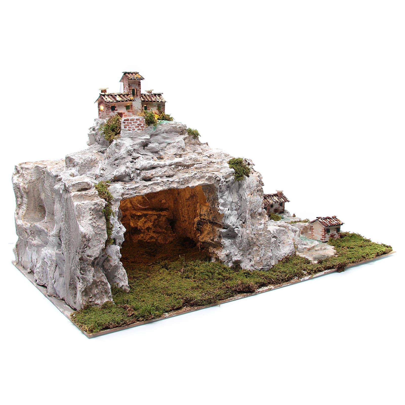 Szopka z krajobrazem skalnym i światłami 50x75x50 cm 4
