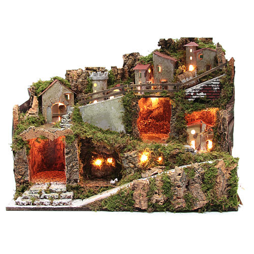Nativity scene village with lights and tank lake effect 40x60x35 cm 1