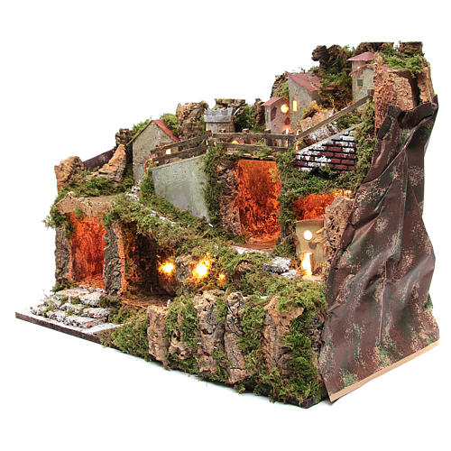 Nativity scene village with lights and tank lake effect 40x60x35 cm 2