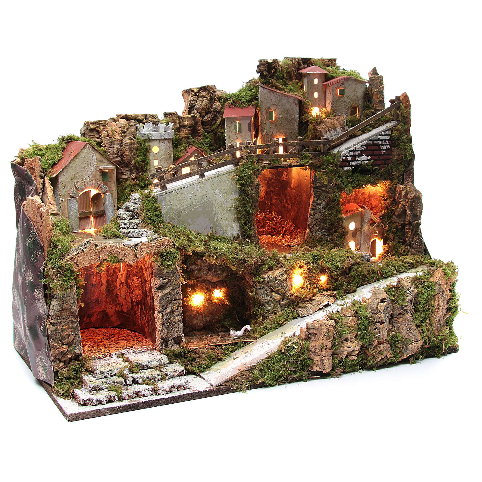 Nativity scene village with lights and tank lake effect 40x60x35 cm 4