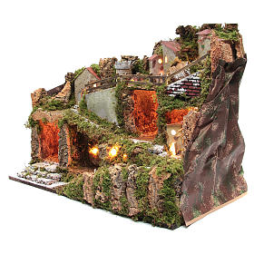 Nativity scene village with lights and tank lake effect 40x60x35 cm s2