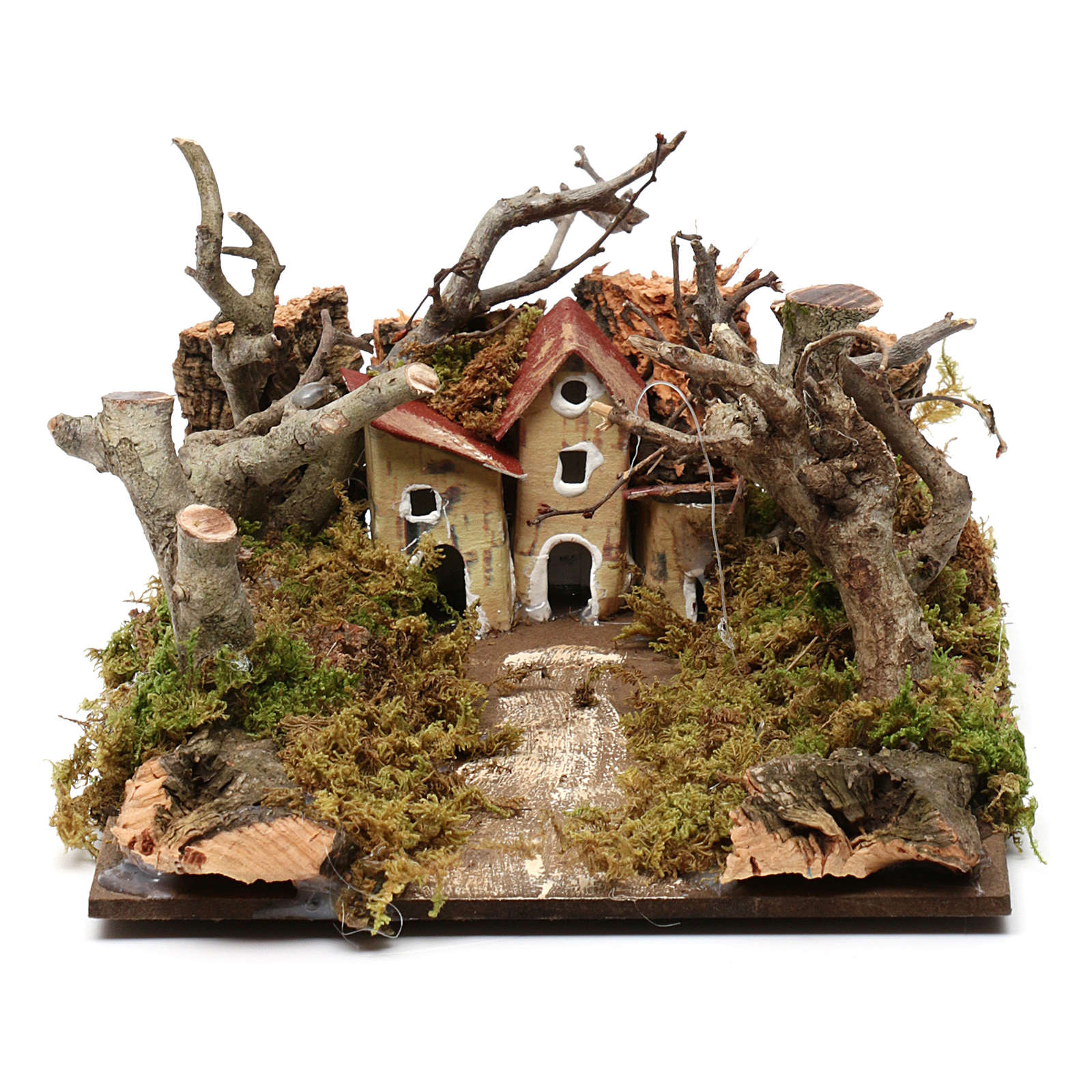 Nativity scene setting with houses and trees 5x20x15 cm 4