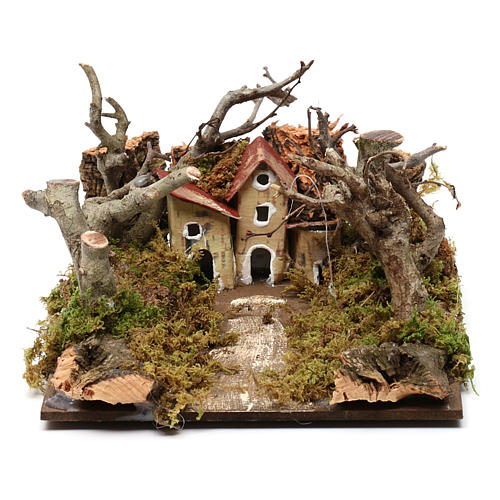 Nativity scene setting with houses and trees 5x20x15 cm 1