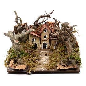 Paysage avec maisons et arbres 5x20x15 cm s1