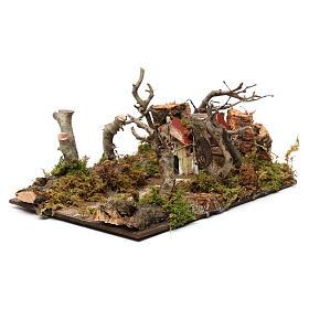 Paysage avec maisons et arbres 5x20x15 cm s2