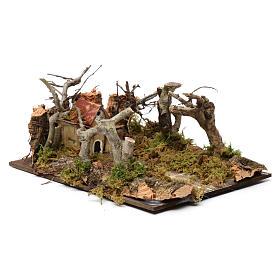 Paysage avec maisons et arbres 5x20x15 cm s3