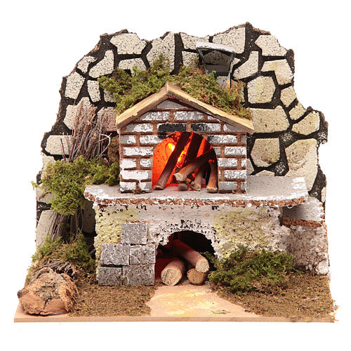 Electric oven with a flame effect lamp 1