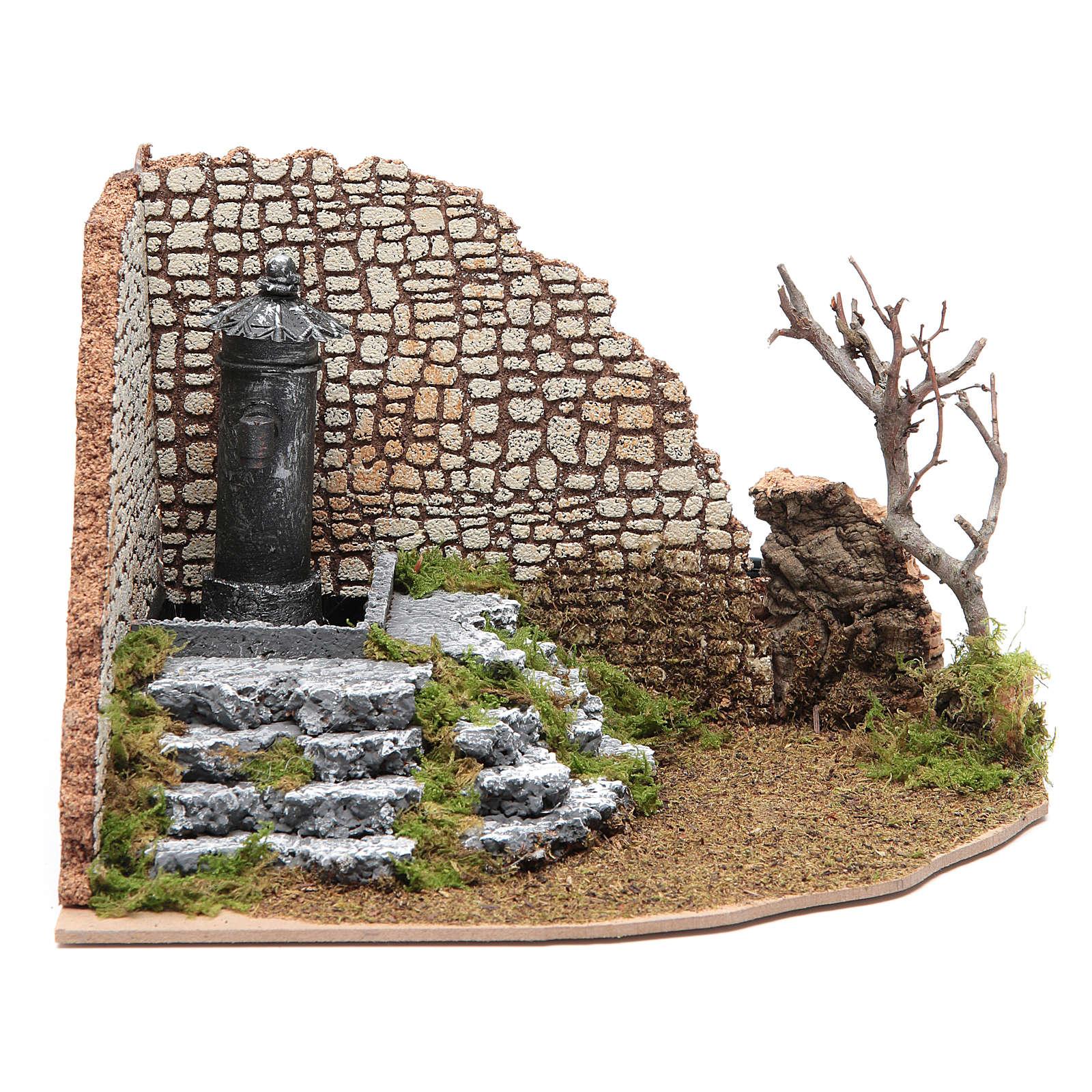 Fontana di piazza ad angolo per presepe 4