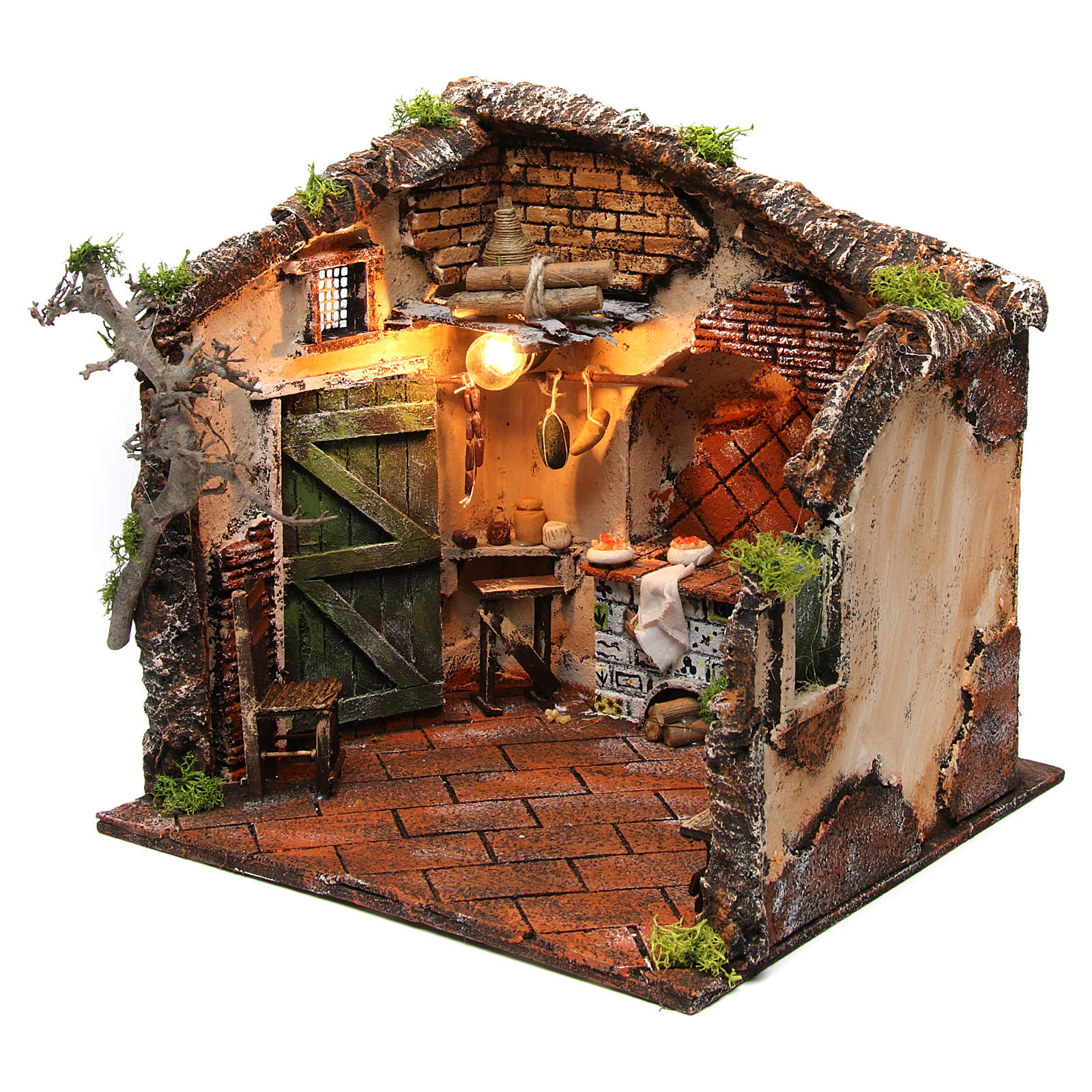 Illuminated internal part of the house 30x30x30 cm for Neapolitan nativity scene 4