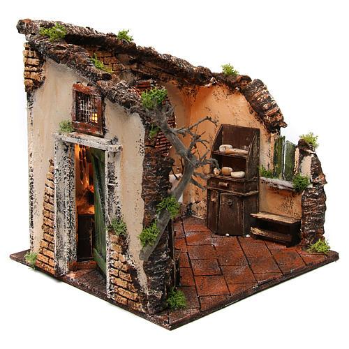 Escena interior casa iluminada 30x30x30 ambientación belén napolitano 3