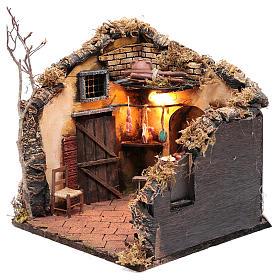 Scena interno casa illuminata 30x30x30 ambiente presepe napoletano s2