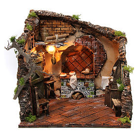 Presepe Napoletano: Scena interno casa illuminata 30x30x30 ambiente presepe napoletano