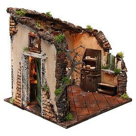 Scena interno casa illuminata 30x30x30 ambiente presepe napoletano s3