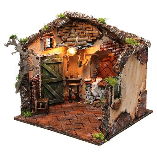 Scena interno casa illuminata 30x30x30 ambiente presepe napoletano 2