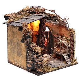 Illuminated stable scene  30x30x30 cm for Neapolitan nativity scene s3