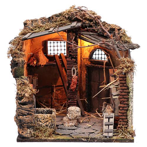 Illuminated stable scene  30x30x30 cm for Neapolitan nativity scene 1