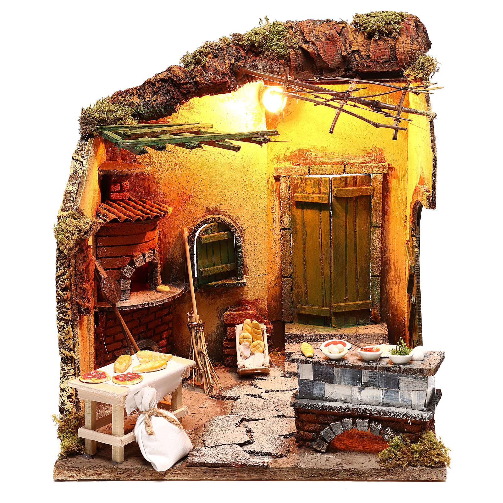 Scena forno illuminato 30x30x30 ambientazione presepe Napoli 4