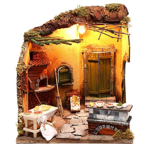 Scena forno illuminato 30x30x30 ambientazione presepe Napoli 1