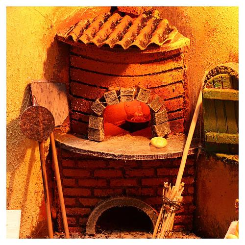 Scena forno illuminato 30x30x30 ambientazione presepe Napoli 2