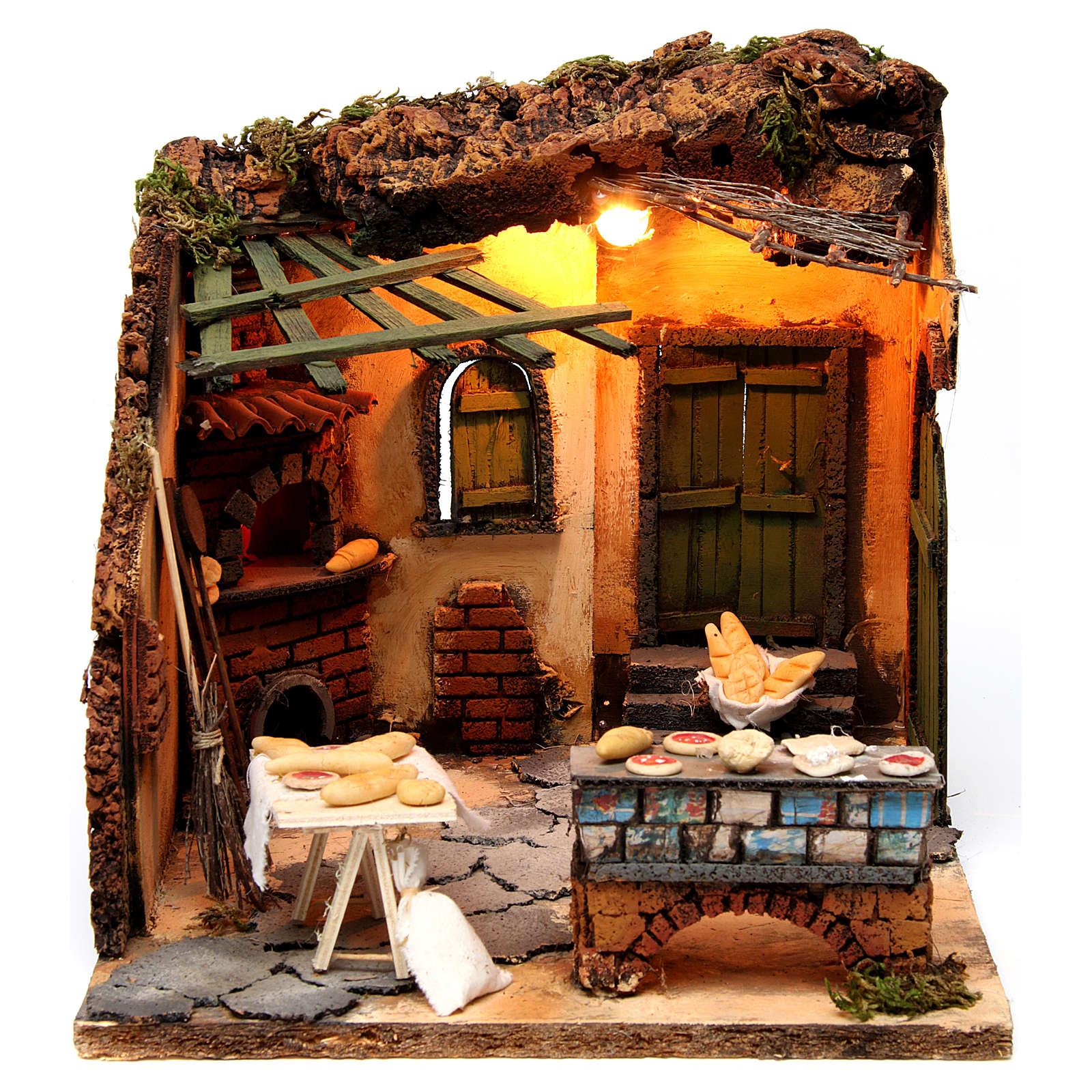 Illuminated oven scene 30x30x30 cm for Neapolitan nativity scene 4