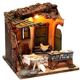 Illuminated oven scene 30x30x30 cm for Neapolitan nativity scene s3